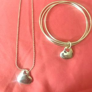 Jewelry - Matching sterling silver heart necklace and bangle